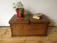 Antique Small Travel Trunk Coffee Table Worn and Vintage Lovely