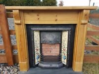 114 Cast Iron Fireplace Surround Fire Wood Tiled Insert Antique Victorian Style
