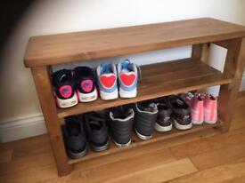 Handmade pine shoe rack, hall bench, storage seat