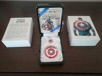 Marvel Captain America Shield 75th Anniversary Proof Silver Coin