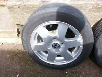 "4 x 14"" VW ALLOY WHEELS WITH NEARLY NEW TYRES"