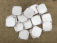 15 square hand painted wall tiles - unused