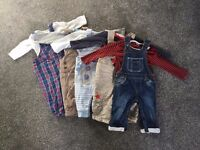 Bundle of 3-6 month boy's dungaree sets, good condition (10 items)
