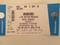 2 tickets, Ricky Gervais, Humanity Tour, Edinburgh Playhouse, Thursday 8th June
