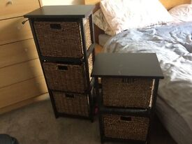 Chest of drawers and bedside storage and mirror