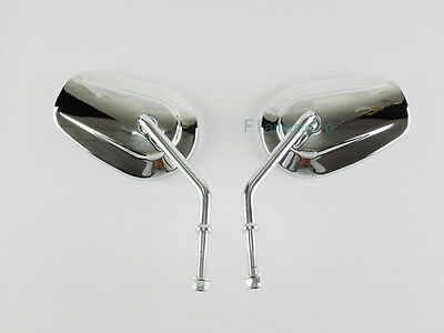 Chrome Oval Rearview Mirrors For Harley Softail Dyna Sportster Touring Cruiser