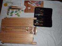 Wood Easel And Brushes Paints Pallets Boards Etc.