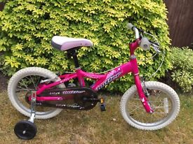 """Girl's 16"""" Claud Butler """"Flame"""" pink bike with stabilisers in excellent condition"""