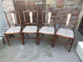 Set of 4 Edwardian dining chairs, good tidy order.