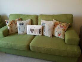Green sofa with x2 chairs and storage foot rest
