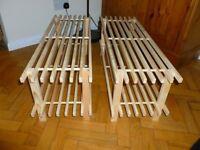 Pine shoe rack x2