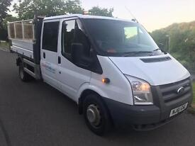 61 2011 FORD TRANSIT T350L DOUBLE CAB TIPPER CAGED 6 SPEED 130 BHP EXCELLENT WORKING