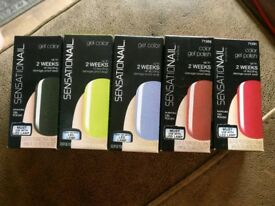 Sensationail gel nail polish - five different colour variations
