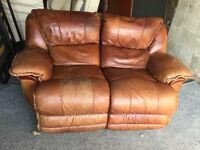 BROWN LEATHER 2 SEATER SOFA,CAN DELIVER