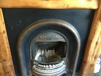 Reclaimed Cast Iron Fireplace with slate Hearth & large wooden surround