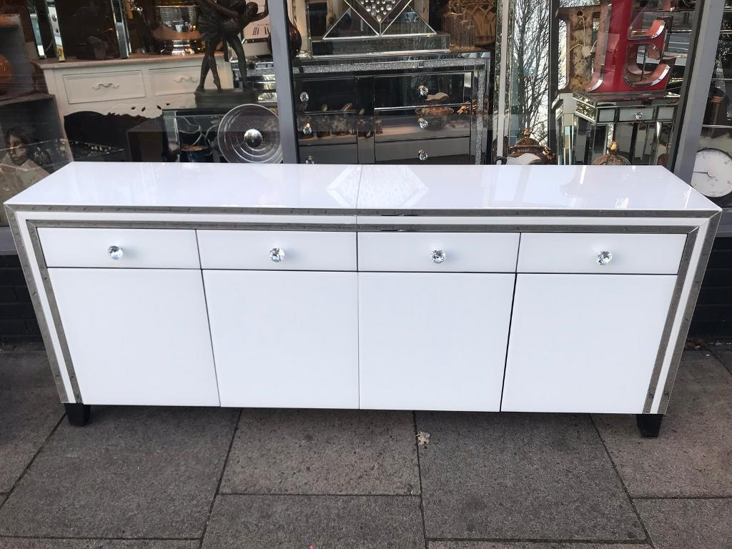 brand new 9aa2f 7554d Large Mirrored & White Glass Sideboard   in Leicester, Leicestershire    Gumtree