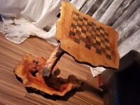Amazing chess table. Made from solid olive wood.