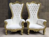 2x BRAND NEW Pretoria King Throne Chairs (180cm) - Gold Wedding Luxury French Italian Furniture