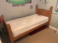 Solid Pine Single bed with top quality memory foam mattress