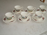 Set of six unique Alsace demitasse cups and saucers
