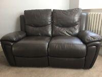 Dark brown reclining leather sofas £150