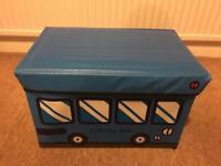 Blue color school bus design kids storage box