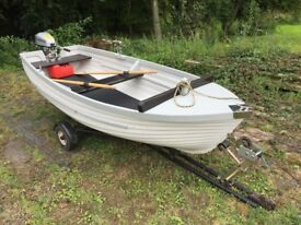 12ft Clinker Style boat with Honda Outboard, Road Trailer and Accessories