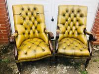 Rare vintage chesterfield library chairs in vgc