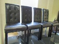 brown leather high back chairs set of 4