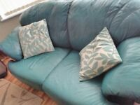 Leather Sofa 2 seater in teal