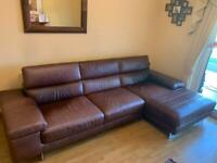 Natuzzi leather corner sofa