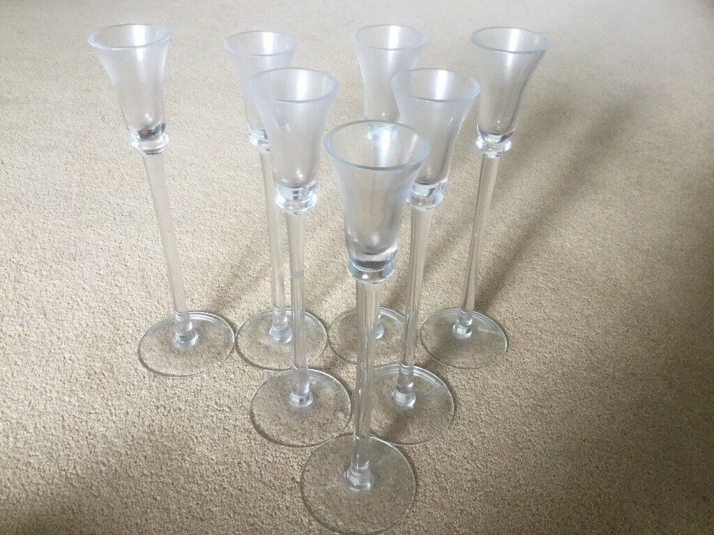 7 tall glass candle holders