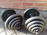 40KG PRO POWER CAST IRON DUMBBELL WEIGHTS SET