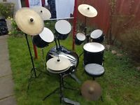 Entry Level Drum Kit Black 7 Peice