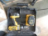 14.4v dewalt drill cordless 2 battery pls charger
