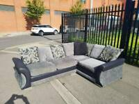 Black and grey fabric corner group sofa