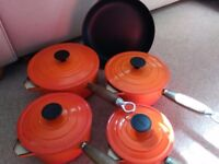 Set of Cousances cast iron pots and frying pan