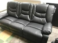 Kirk Black 3 and 2 seater Recliner Sofa NEW