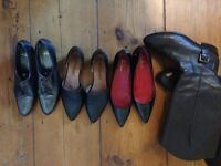 Hardly used leather shoes and boots