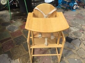Baby weavers highchair wooden converts to chair and table