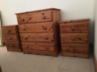 Solid Pine - chest of drawers & bed side tables