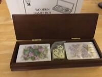 WOODEN CARD/DICE GAMES BOX