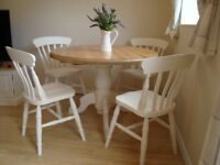 chunky solid pine farmhouse table and four beech chairs