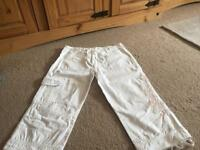Ladies white cropped trousers