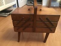 1960's Cantilever Beech Wood Sewing Box