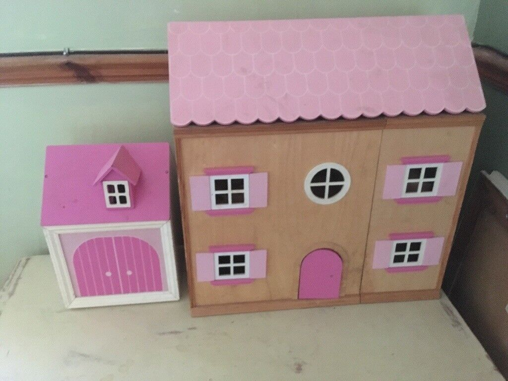 Dolls house with garage and contents