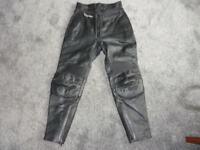 Ladies Frank Thomas Motorbike Leather Trousers Size 14