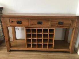Rustic oak sideboard with wine rack