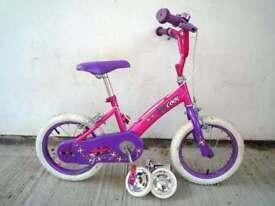 "(1866) 14"" 9.5"" KIDCOOL Girls Bike Bicycle + STABILISERS Age: 4-5 Height: 98-112 cm Pink"
