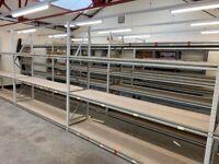 JOB LOT heavy duty apex industrial long span shelving as new ( pallet racking , storage)